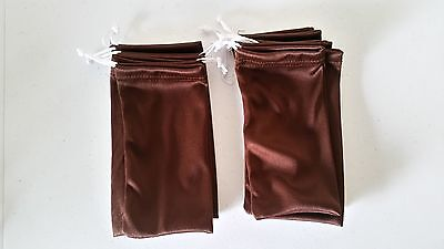 Qty 5 Cheap Bulk Lot Jewelry Bag Brown Microfiber Cloth Soft Gift Bags Pouch NEW