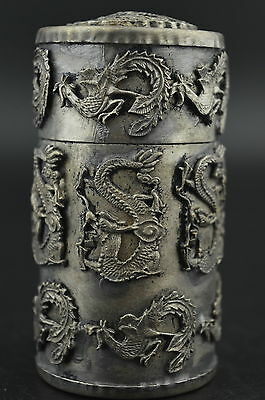 Chinese Silver Copper carving dragon & phoenix unique toothpick box