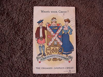 """Comic Seaside Postcard """"the Engaged Couples Crest"""" Edwardian Posted 1906."""