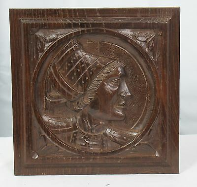 US0046B breton carved wood panel Portrait of a wife of a landlord