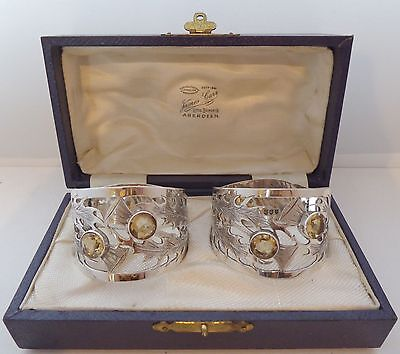 Boxed Pair Hallmarked Solid Silver Napkin Rings Serviette Ring Scottish Thistle