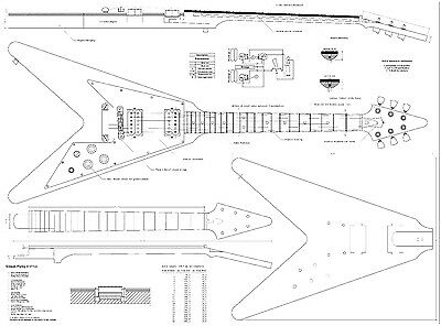Gibson Flying V  Electric Guitar Plans - full scale detailed technical