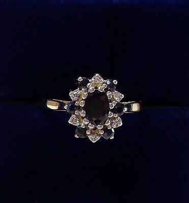 Sapphire and Diamond Cluster Ring in 9ct Yellow Gold - Size O
