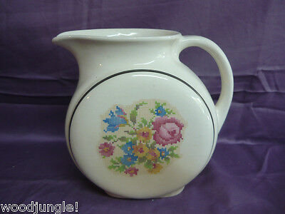 Art Deco Harker Hotoven Petit Point Water Pitcher Jug Floral Cross Stitched