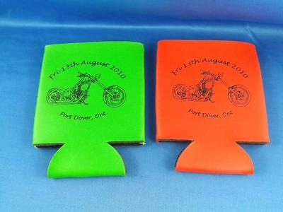MOTORCYCLE MEET FRIDAY 13th PORT DOVER CANADA BEER BOTTLE COZY LOT 2 MOTORCYCLE