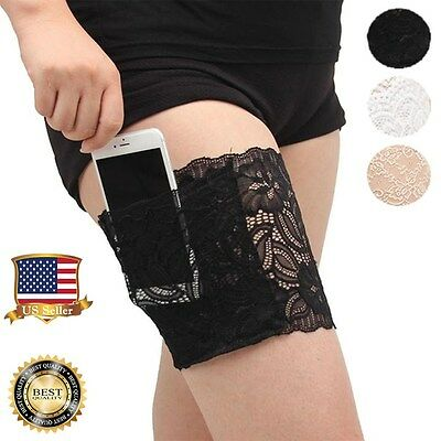 Black White Womens Lace Non-slip Thigh Bands Garter Purse Phone Security Pockets