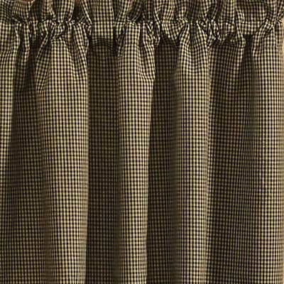 "Black and Tan Checked Curtain Tiers Country Star by Park Designs 24"" and 36"""