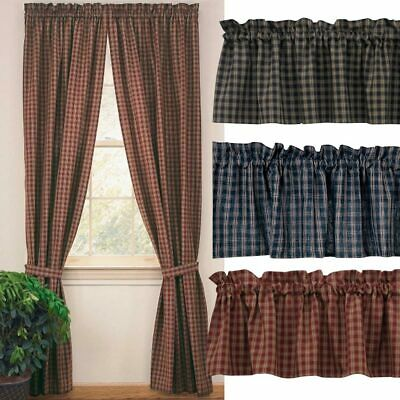 """Sturbridge Plaid Lined Curtain Panels Country Wine, Black, Navy, 84"""" or 63"""" Long"""