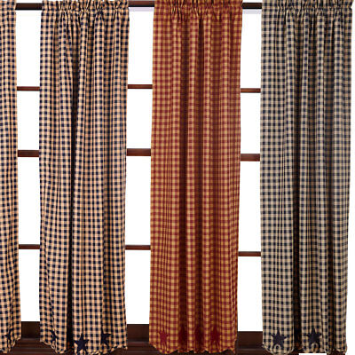 """Star and Check Scalloped Country Curtain Panels Navy Black Burguny 63"""" or 84"""""""