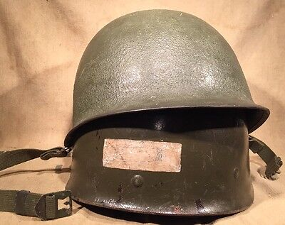 Late WWII Us Army M1 Helmet And Seamen Liner With NCO bar Painted