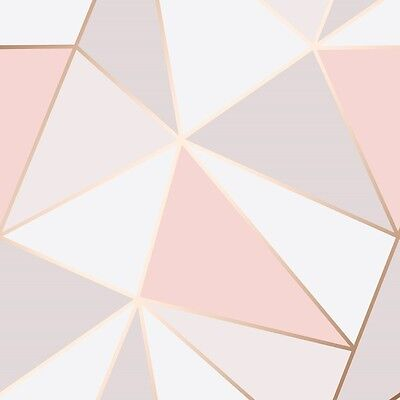 Pink and Rose Gold Wallpaper Geometric Pattern Apex by Fine Decor FD41993