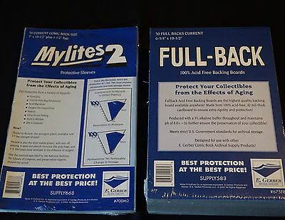 50 - GERBER FULL-BACK & MYLITES 2 CURRENT Comic Mylar Bags & Boards 675FB/700M2