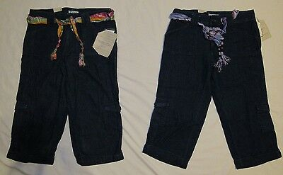 New Living Planet Womans Size 10 12 16 Denim Cuffed Capris/Crop Pants W/Tie Belt
