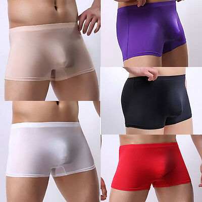 Seamless Men's Ice silk Underwear Boxer Briefs Shorts Bulge Pouch Underpants
