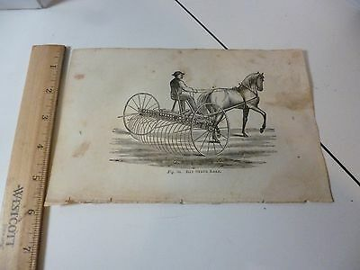 Antique 1870 Bay State Rake Engraving Images from Farmer's Book