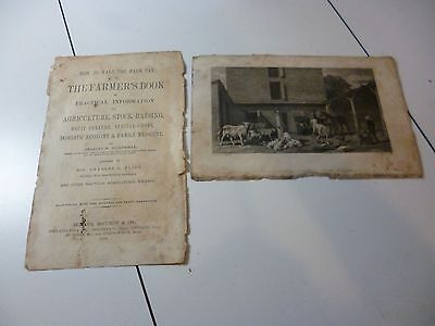 Antique 1870 Farmers Book Sartain Engraving & Cover Page
