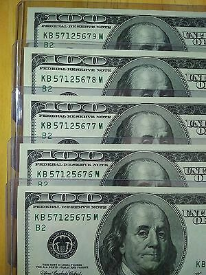 $100 X 5 Consecutive Serial Number Uncirculated One Hundred Dollar Bill Currency
