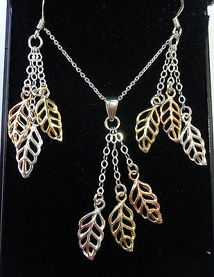 """Next Sterling Silver Tri-colour Leaf Necklace and Earring Set, 17 1/2"""""""