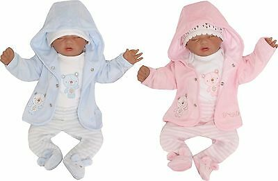 Velour Nicki Baby 3er SET Jogginganzug Kapuzenjacke gr 56 62 68 Englandmode TOP