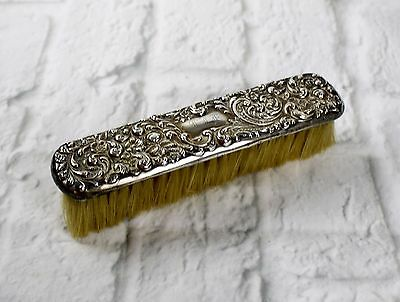 Antique Victorian Sterling Silver Repousse Garment Clothes Brush Monogrammed