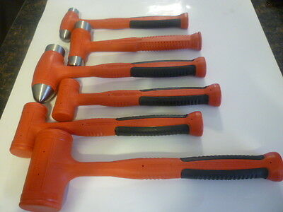 New Snap On Red 6 Piece Ball Peen, Dead Blow and Dual Face Hammer Set