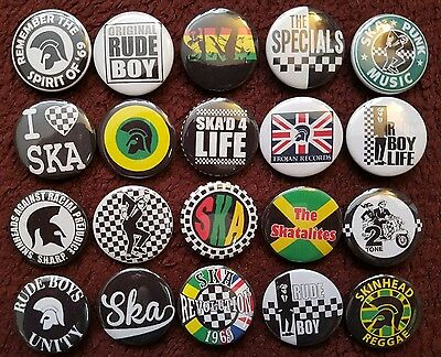 Ska 2 Tone Skinhead Rude Boy Button Badges x 20.  Pins. Wholesale. Bargain.:0)