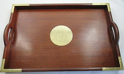 Vintage / Antique Wooden Serving Tray with Asian Brass Accents Rectangular