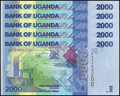 Uganda 2,000 (2000) Shillings X 5 Pieces (PCS), 2017, P-NEW, UNC