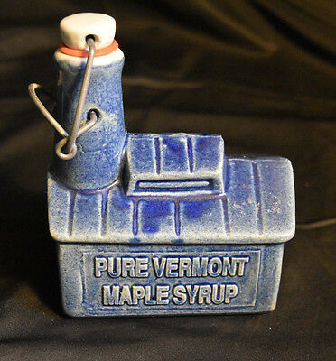Pure Vermont Maple Syrup Blue Bottle Bowman Pottery House State College Vintage