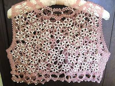1 Of a Kind Faux White Pearl Pink Beaded Women's Vest Top Cover Up Size 32 Small