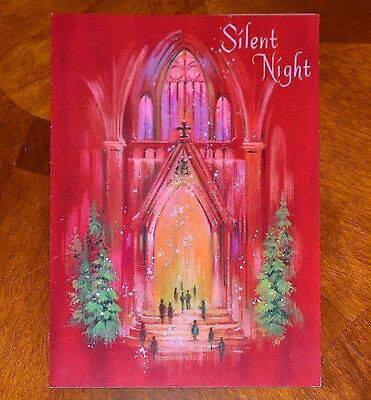Vintage UNUSED Christmas Card GLITTER PINK QUALITY CREST PEOPLE CHURCH Mid-Cent