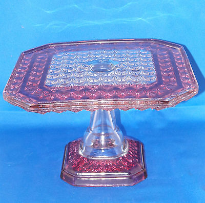 EAPG Elegant Square Glass Cake Stand Campbells #83 Ruby stained