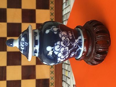 Miniature Chinese Baluster Vase & Cover on Lotus Leaf Stand. Xangxi Period