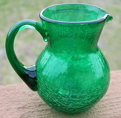 Beautiful Green Hand Blown Crackled Glass Pitcher