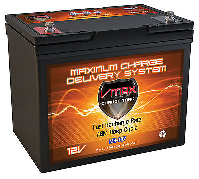VMAX MR107-85 12V 85AH AGM Marine Battery for Minn KotaTraxxis 55lbTrolling Mtr