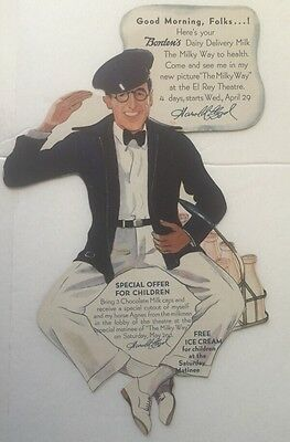 1936 Die Cut Advertising Borden's Milk With Harold Lloyd's The Milky Way