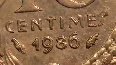 Doubled Die Error 1986 France 10 Centimes. ANACS MS 62