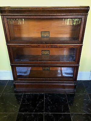 """VTG Antique Globe Wernicke Co. 3 Stack """"D"""" Sectional Bookcase PICK UP ONLY"""