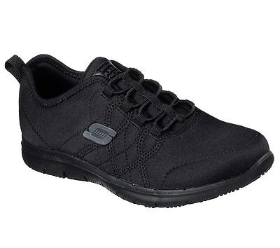 77211 Black Skechers shoes Women Memory Foam Work Slip Resistant Comfort Sporty