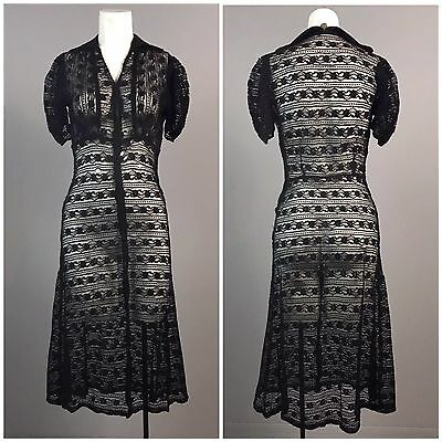 Vintage 1930s Black Sheer Floral Lace Fitted Dress Puffy Sleeve Tea Length XS