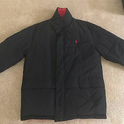 Mens Vintage Polo Ralph Lauren Reversible Jacket (Black/Red) - Size Medium