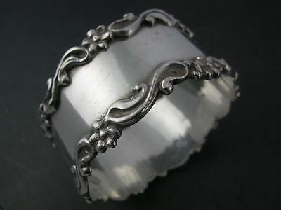 "Sterling Victorian NAPKIN RING ornate floral and scroll borders ""Kate"""