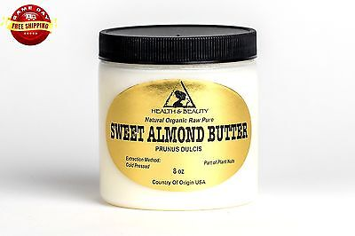 SWEET ALMOND BUTTER ORGANIC by H&B Oils Center COLD PRESSED 100% PURE 8 OZ