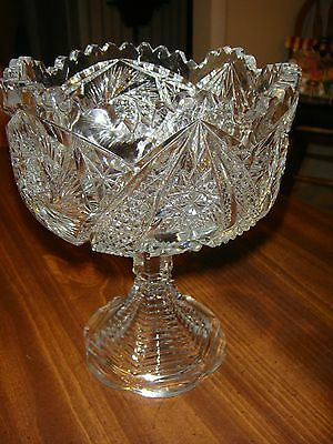 ABP American Brilliant Cut Glass Compote with Stepped Base  Fully Cut