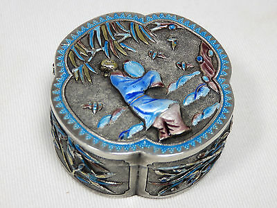 Rare! Antique 1890S Chinese Export Sterling Silver Enamel Box Maker Signed