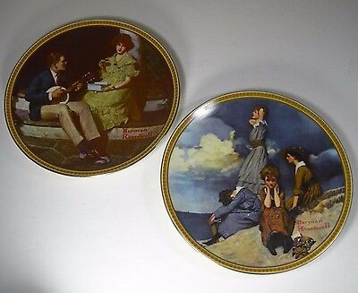 Norman Rockwell Plates Lot Of 2 Pondering On The Porch & Waiting On The Shore