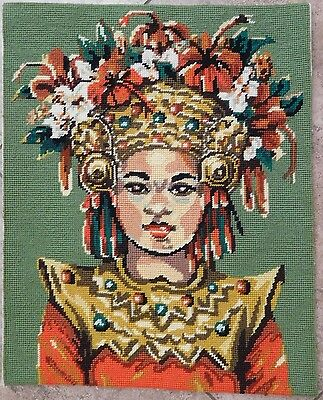 Balamese Princess Needlepoint Tapestry Completed