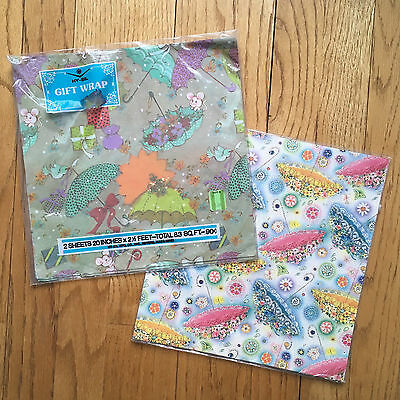 Lot 3 sheetts Vtg Gift Wrapping Paper Baby Wedding Showers Umbrella Bird Mice