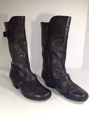 MIZ MOOZ Women's Hercegovina Size 6.5/7M Black Zip Up Mid-Calf Boots X4-1094