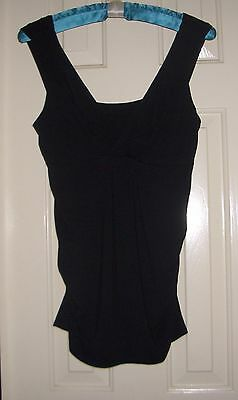 Small Black Sleeveless Maternity Nursing Friendly Top w/ Gathered Ruched Sides
